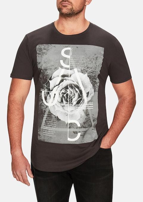 Charcoal Rose Print Longline Tee