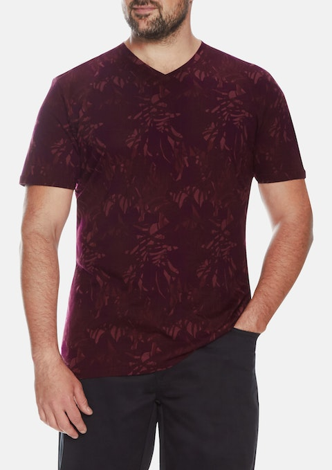 Burgundy Fern Print V-neck Tee