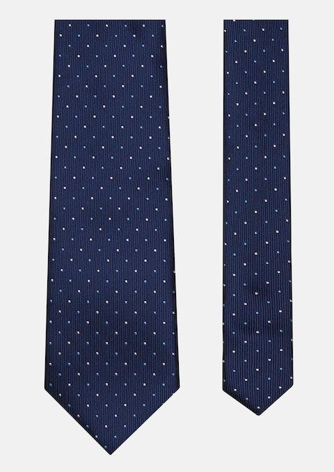 Navy Small 2 Colour Dot Tie 7cm