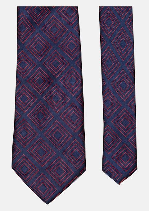Red Contrast Squares Tie 8.5cm