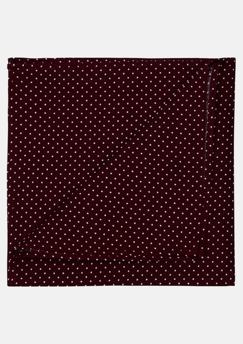 Burgundy Small Dot Cotton Pocket Square