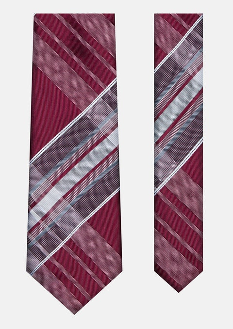 Burgundy Large Check Tie 7cm
