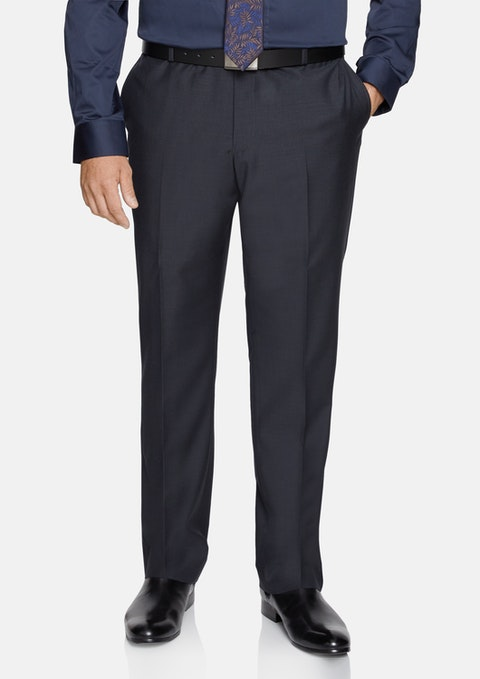 Charcoal Wool Blend Elastic Waist Pant