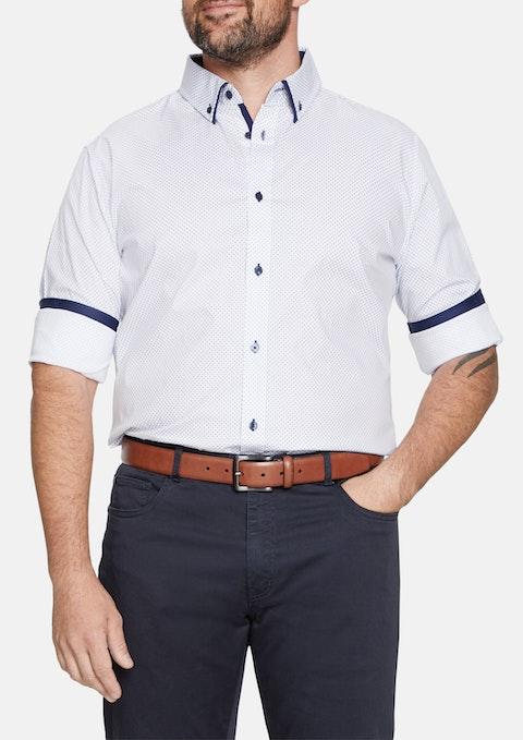 White Square Dot Print Shirt