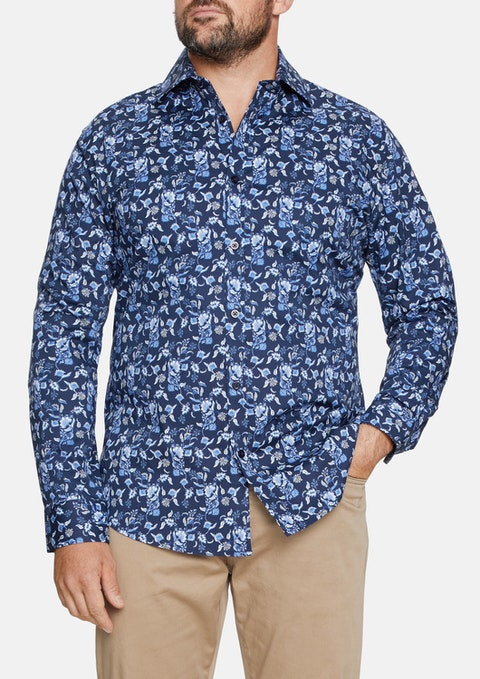 Navy Stretch Floral Print Shirt
