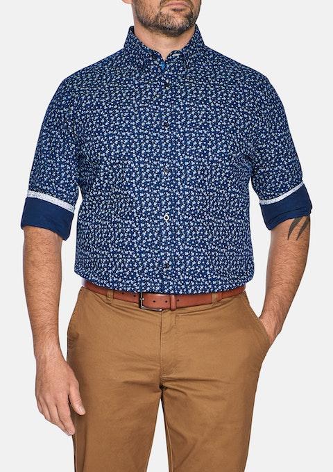 Navy Xander Floral Print Shirt