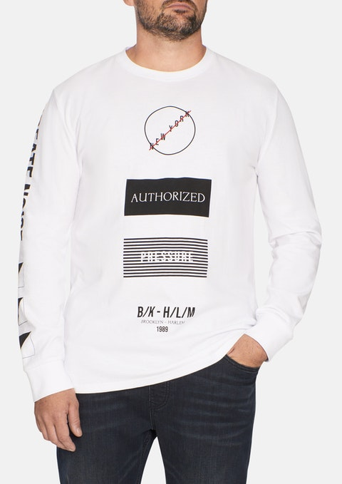 White Graphic Long Sleeve Top