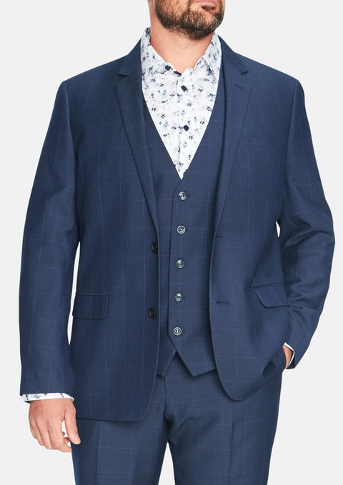 Navy Cole Check 2 Button  Suit Jacket