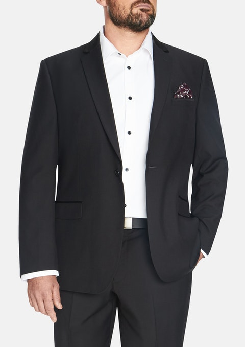 Black Beckham Satin 1 Button Suit Jacket