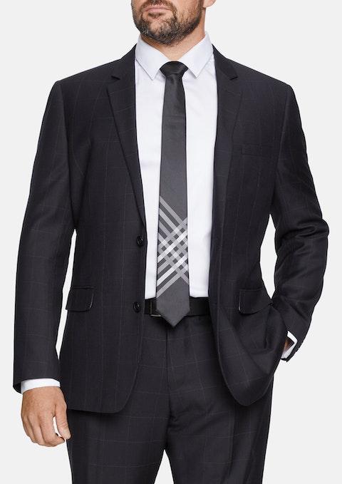 Black Cruz Check 2 Button  Suit Jacket
