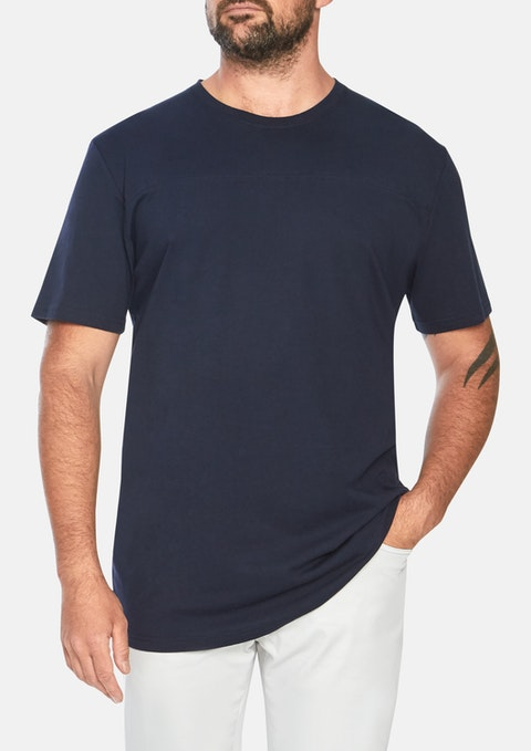Navy Essential Longline Panel Tee