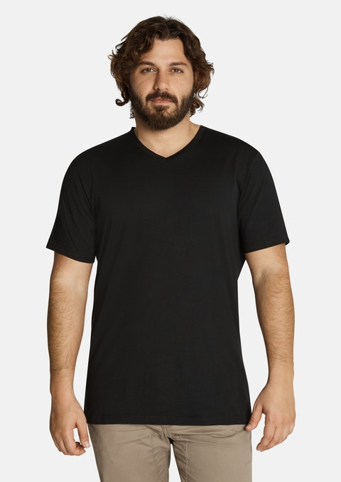 Blk - Black Essential V Neck Tee