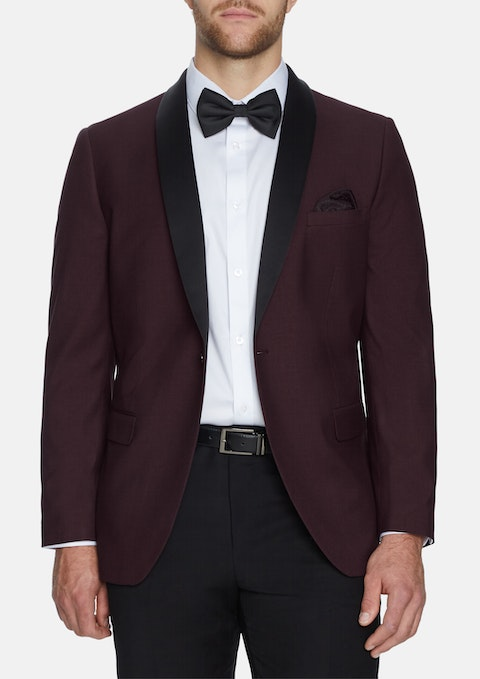 Bur - Burgundy Tuxedo Stretch Jacket