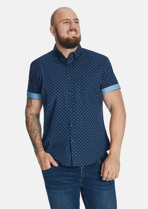 Blue Marling Stretch Shirt