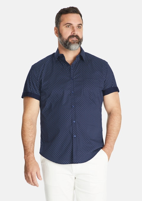 Navy Carter Geo Print Stretch Shirt