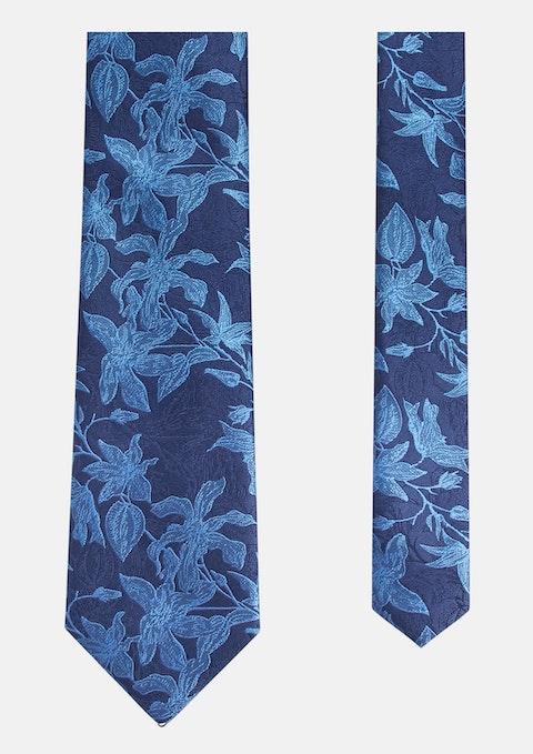 Blue Tropical Jacquard Tie 7cm